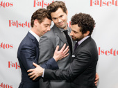 What would we do without these three? Christian Borle, Andrew Rannells and Brandon Uranowitz get cuddly on the red carpet.