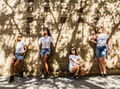 """""""After class, that's when it's time to meet up with the Gagged Girl Gang. We'll brainstorm about what the next collection is going to be. It's an awesome team effort.""""L to R: L.J. Wright, Courtney Reed, Abby DePhillips and Teale Dvornik"""