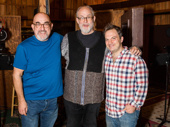Orchestrator Michael Starobin, composer and lyricist William Finn and music director Vadim Feichtner snap a pic.