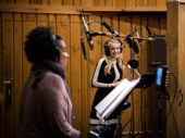 Betsy Wolfe is all smiles! She and Tracie Thoms take their turns at the mic.