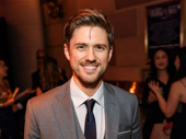 """Aaron Tveit flashes a smile before heading into the gala to perform """"Morning Glow"""" from Pippin."""