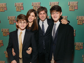 A Bronx Tale lyricist Glenn Slater celebrates his Broadway oepning with his wife Wendy Leigh Wilf and sons Benjamin and Daniel.