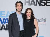 Theater couple Jason Robert Brown and Georgia Stitt attend the Broadway opening of Dear Evan Hansen.