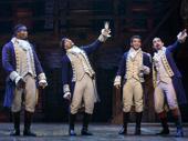 Okieriete Onaodowan as Hercules Mulligan, Seth Stewart as Marquis de Lafayette, Jordon Fisher as John Laurens and Javier Muñoz as Alexander Hamilton in Hamilton.