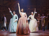 Phillipa Soo as Eliza, Renee Elise Goldsberry as Angelica and Jasphine Cephas Jones as Peggy in Hamilton.