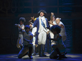 Christopher Jackson as Washington and the cast of Hamilton.