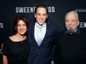 Producer Rachel Edwards and star Jeremy Secomb pose with Sweeney Todd mastermind, the legendary Stephen Sondheim.