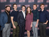 The band's all here! Brandon James Ellis, Joe Carroll, Corey Cott, Laura Osnes, Geoff Packard and James Nathan Hopkins make the music on stage.