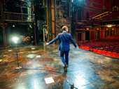 Briones takes one last look at the Broadway Theatre on opening night before heading out to meet the press and head to the party.