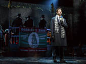 Andy Karl as Phil Connors and the cast of Groundhog Day.