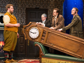 Henry Lewis, Jonathan Sayer, Henry Shields and Dave Hearn in The Play That Goes Wrong.