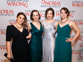 Girl power! The Play That Goes Wrong's Nancy Zamit, Charlie Russell, Bryony Corrigan and Amelia McClain get glam for their Broadway opening.