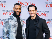 Broadway alum James Brown III and Anastasia's Ramin Karimloo flash smiles.