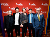 Amélie's creative dream team: scribe Craig Lucas, choreographer Sam Pinkleton, director Pam MacKinnon, lyricist Nathan Tysen and composer and lyricist Daniel Messé.