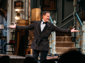 What a ham! Present Laughter star Kevin Kline takes in the applause.