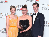 Angels in America stars Denise Gough and Andrew Garfield snap a pic with Best Actress winner Billie Piper.(Photo: Getty Images)