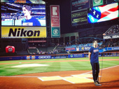 We pledge allegiance to—Corey Cott! The Bandstand star recently performed the National Anthem at Citi Field with his co-star Laura Osnes (who took this great pic).(Photo: Instagram.com/lauraosnes)