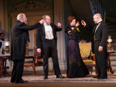 Cynthia Nixon as Regina Giddens and the cast of Broadway's The Little Foxes.