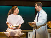 Sara Bareilles as Jenna and Chris Diamantopoulos as Dr. Pomatter in Waitress.