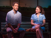 Chris Diamantopoulos as Dr. Pomatter and Sara Bareilles as Jenna in Waitress.