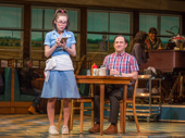 Caitlin Houlahan as Dawn and Christopher Fitzgerald as Ogie in Waitress.