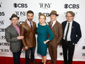Oslo scribe J.T. Rogers, Michael Aronov, Jennifer Ehle, Jefferson Mays and director Bartlett Sher snap a group photo.