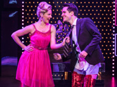 Taylor Louderman as Lauren and Brendon Urie as Charlie in Kinky Boots.