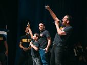 "A Bronx Tale's Athan Sporek and Nick Cordero perform ""Roll 'Em."""