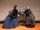Julie White as Nora and Jayne Houdyshell as Anne Marie in A Doll's House, Part 2.