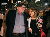 Michael Moore heads to the after party with feminist icon Gloria Steinem.