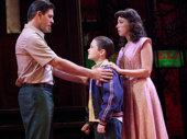 Richard H. Blake as Lorenzo, Will Coombs as Young Calogero and Lucia Giannetta as Rosina in A Bronx Tale.
