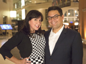 Frozen songwriting couple Kristen Anderson-Lopez and Robert Lopez are all smiles for opening night.