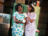 Eboni Flowers as Evelyn Brandon and Nneka Okafor as Sally-Mae Carter in Too Heavy For Your Pocket.