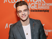 A Clockwork Orange star Jonno Davies is all smiles for his New York stage debut.