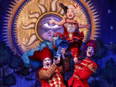 Katrina Kemp as Fleck, Stephen Petrovich as Gangle and Richard Koons as Squelch in the national tour of Love Never Dies.