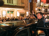 The Boss is officially on the boards! Bruce Springsteen waves to the crowd on opening night of Springsteen on Broadway.