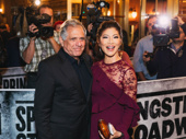 CBS CEO Les Moonves and The Talk host Julie Chen step out.