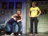 Michael Urie as Arnold, Jack DiFalco as David and Ward Horton as Ed in the off-Broadway production of Torch Song.