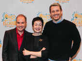 Once on This Island's music makers Stephen Flaherty and scribe Lynn Ahrens snap a pic with director Michael Arden.