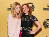 Frozen's Caissie Levy and Patti Murin attend the 20th anniversary celebration performance of The Lion King.