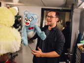 Avenue Q understudy Jed Resnick practices before going on.