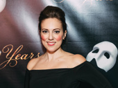 The Phantom of the Opera's Katharine Heaton goes for gold on the 30h anniversary red carpet.