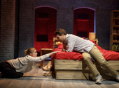 Anna Chlumsky as Lydia Lensky and Adam Pally as Jeff Torm in Cardinal.