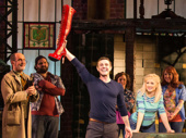 Jake Shears as Charlie, J. Harrison Ghee as Lola and the cast of Kinky Boots.