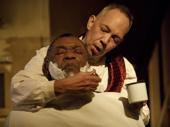 Michael James Leslie as Judge Turpin and Thom Sesma as Sweeney Todd in Sweeney Todd: Demon Barber of Fleet Street.