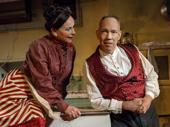 Sally Ann Triplett as Mrs. Lovett and Thom Sesma as Sweeney Todd in Sweeney Todd: Demon Barber of Fleet Street.