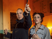 Thom Sesma as Sweeney Todd and Sally Ann Triplett as Mrs. Lovett in Sweeney Todd: Demon Barber of Fleet Street.