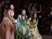 Mandy Gonzalez as Angelica, Lexi Lawson as Eliza and Joanna A. Jones as Peggy in Hamilton.