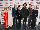 Cast members Tessa Albertson, Susannah Perkins, Danny Wolohan, Crystal Dickinson, Aaron Michael Ray, Johnny Newcomb and Harriet Harris gather for a photo.