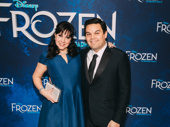 Frozen songwriters Kristen Anderson-Lopez and Robert Lopez hit the red carpet.